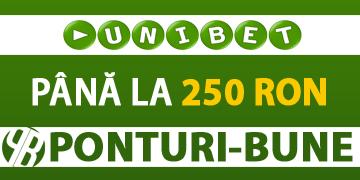 Super bonus la UniBet exclusiv prin Ponturi Bune – Bonus de pana la 250 RON la depozit
