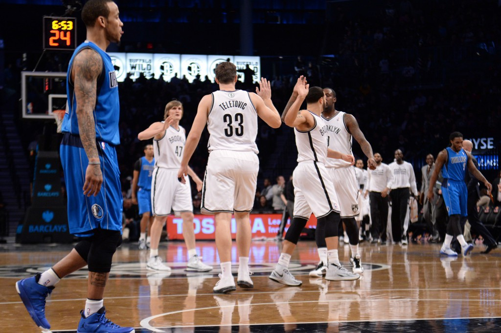 Mirza-Teletovic-gets-high-fives-from-Nets-vs-Mavs-after-shooting-lights-out