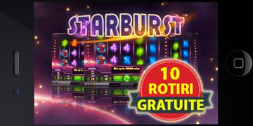 10 rotiri gratuite la Starburst de pe mobil prin Ponturi Bune si UniBet