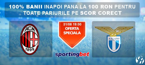 Milan vs Lazio – Pariu fara risc de 100 RON la Sportingbet