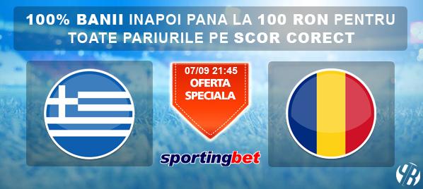 Grecia – Romania – Pariu fara risc de 100 RON la Sportingbet