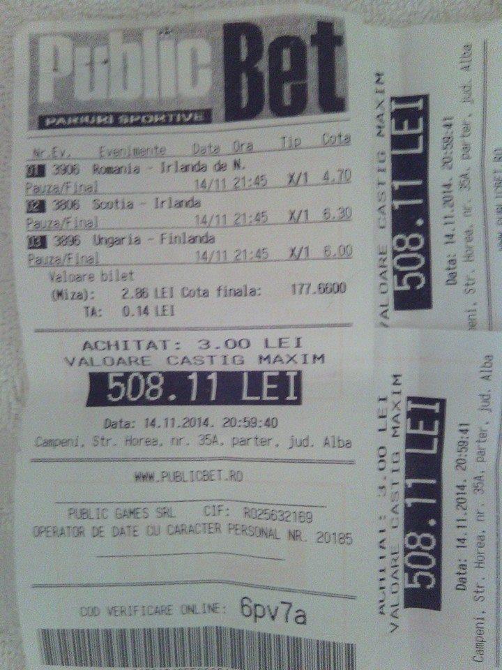 Bilete Pariuri : Mai multi pariori au jucat biletul lui Constantin si au dat lovitura impreuna !