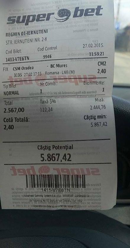 Bianca a pariat 2600 de lei pe un meci de baschet din Romania