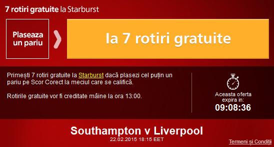 Pariaza pe Southampton – Liverpool si ia 7 rotiri gratuite la Sportingbet