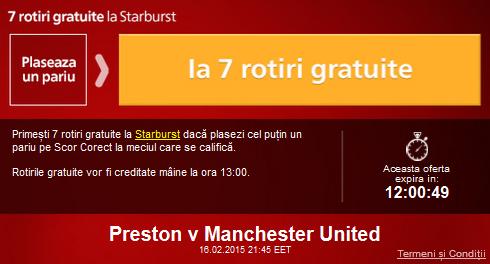 Fa azi un pariu la Preston – Manchester United si ia 7 rotiri gratuite la Sportingbet
