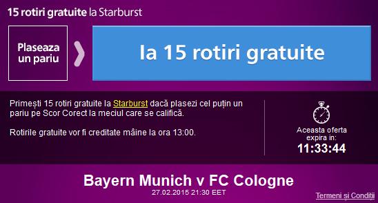 Pariaza pe Bayern – Koln si ia 15 rotiri gratuite la Sportingbet