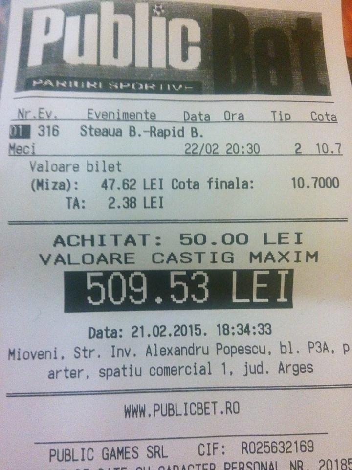 Bilete Pariuri : Marian are incredere in Rapid Bucuresti !