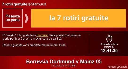 "Pariaza astazi pe Dortmund – Mainz si ia 7 rotiri gratuite la ""pacanele"""