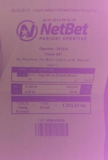 Bilete Pariuri : Alex a pariat 2 pauza 1 final la Mures – Dinamo !