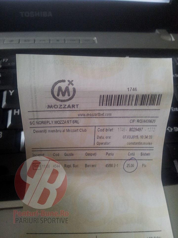 Bilete Pariuri : Madalin a nimerit un 2 pauza 1 final din Liga 2 Romania !