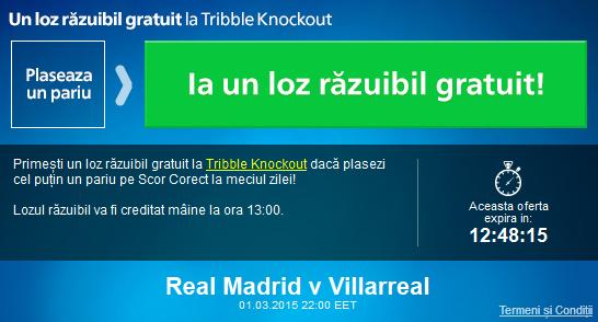Pariaza pe Real Madrid – Villarreal si ia un loz razuibil gratuit