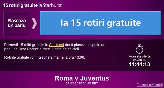 Pariaza pe Roma – Juventus si ia 15 rotiri gratuite la cazinoul Sportingbet