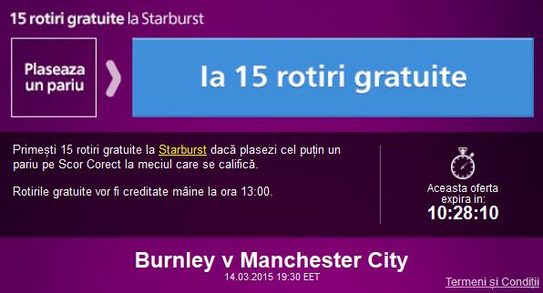 Fa un pariu la Burnley vs Manchester City si ia 15 rotiri gratuite