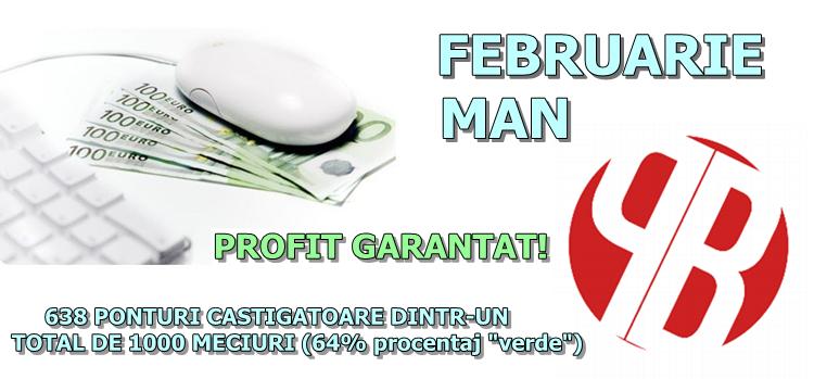 STATISTICA Man (tennis) – luna februarie – un procentaj excelent per total, raportat la totalul evenimentelor