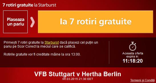 Fa un pariu pe Stuttgart – Hertha si ia 7 rotiri gratuite la Sportingbet