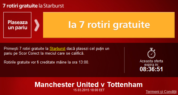 Pariaza pe Man United – Tottenham si ia 7 rotiri gratuite la cazino