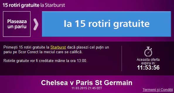 Fa un pariu pe Chelsea vs PSG si ia 15 rotiri gratuite la cazino
