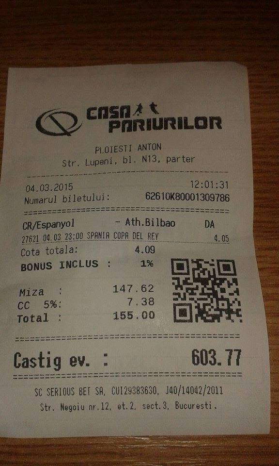 Bilete Pariuri : Vasile pariaza pe Cartonas Rosu !