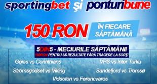 5 din 5 la Sportingbet - 5 pronosticuri corecte - 150 ron garantat - editia a 13-a