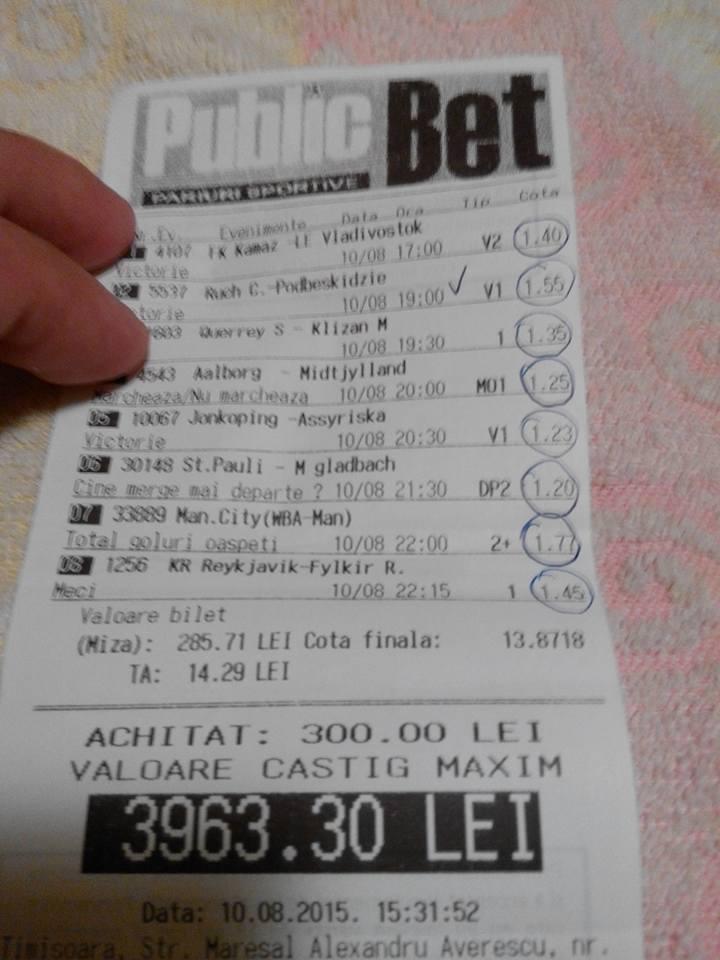 Bilete Pariuri : Un parior a mizat 300 ron si a dat lovitura !