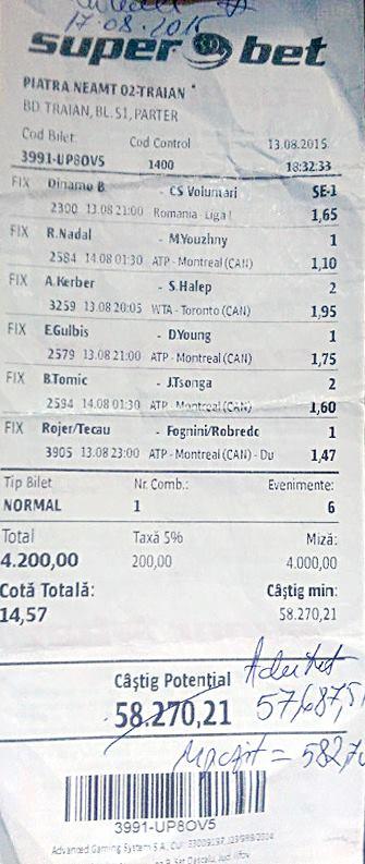 Bilete Pariuri : Un parior din Piatra Neamt a dat lovitura !