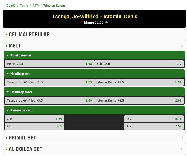 Jo-Wilfried Tsonga vs Denis Istomin
