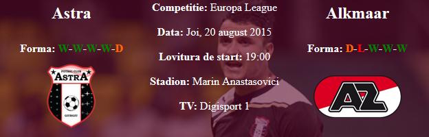 Top pariuri online la Astra cu Alkmaar in Europa League
