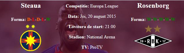 Ponturi pariuri online la Steaua cu Rosenborg in Europa League