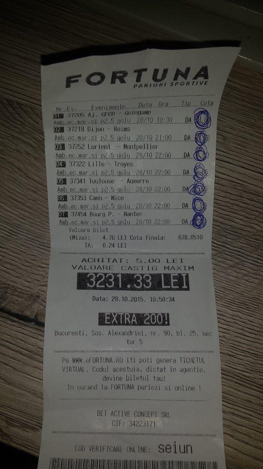 Bilete Pariuri : Un parior a dat lovitura cu 5 lei miza !