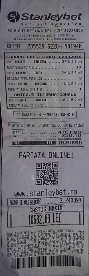 Bilete Pariuri : Un parior a mizat 5000 de lei si a reusit sa isi dubleze banca !