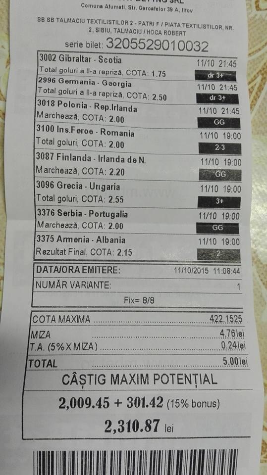 Bilete Pariuri : Un parior a mizat 5 lei si a dat lovitura !