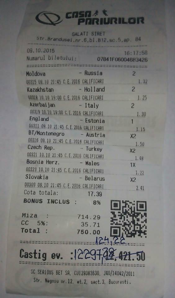 Bilete Pariuri : Un parior curajos,a mizat 750 ron si a castigat !