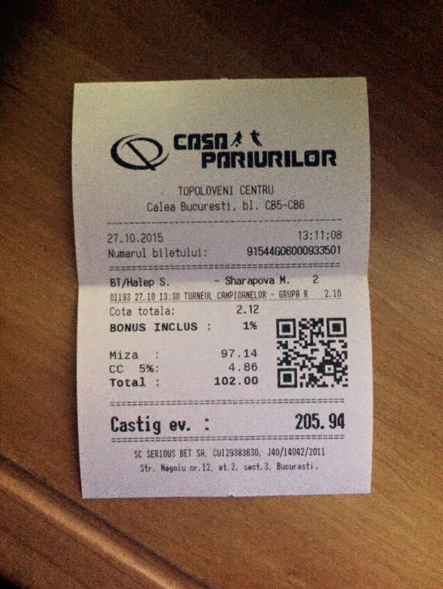 Bilete Pariuri : Pariorii au mers pe Sharapova !