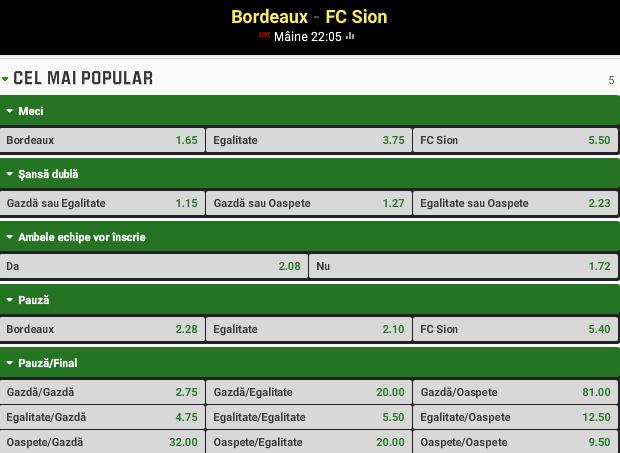 Bordeaux vs Sion