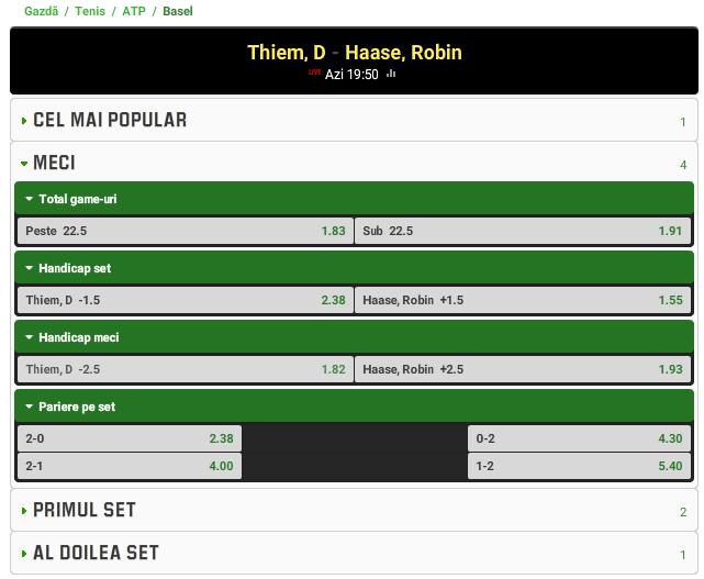 Dominic Thiem vs Robin Haase