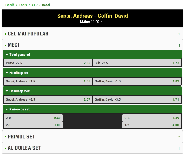 Andreas Seppi vs David Goffin