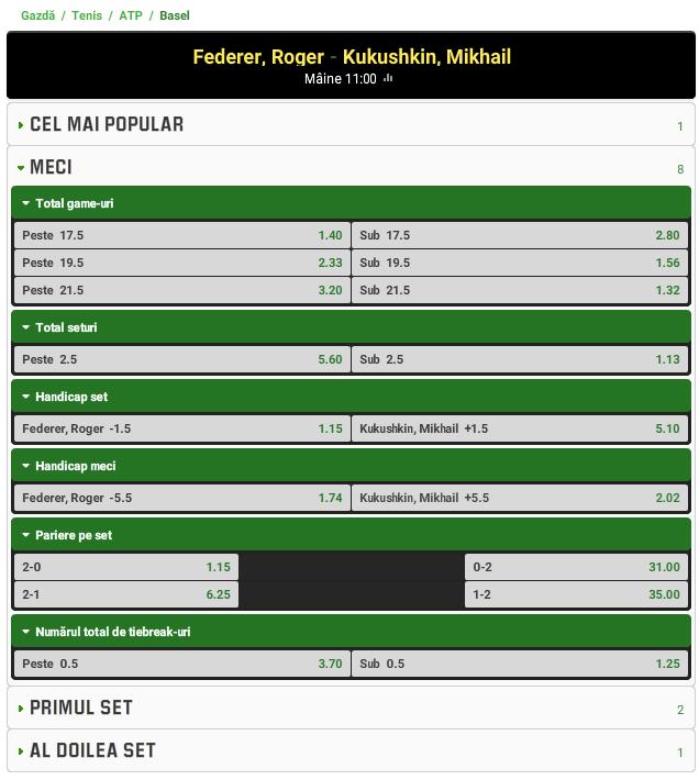 Roger Federer vs Mikhail Kukushkin