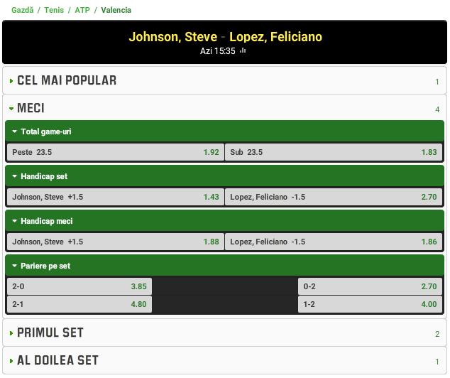 Steve Johnson vs Feliciano Lopez