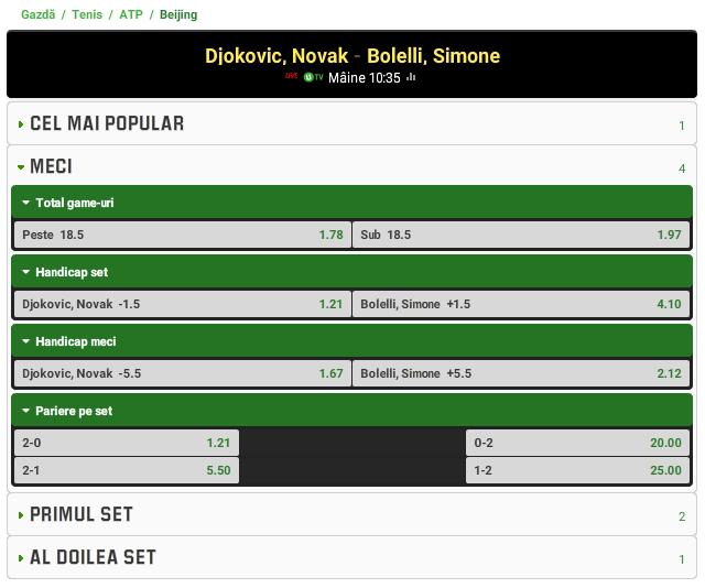 Novak Djokovic vs Simone Bolelli