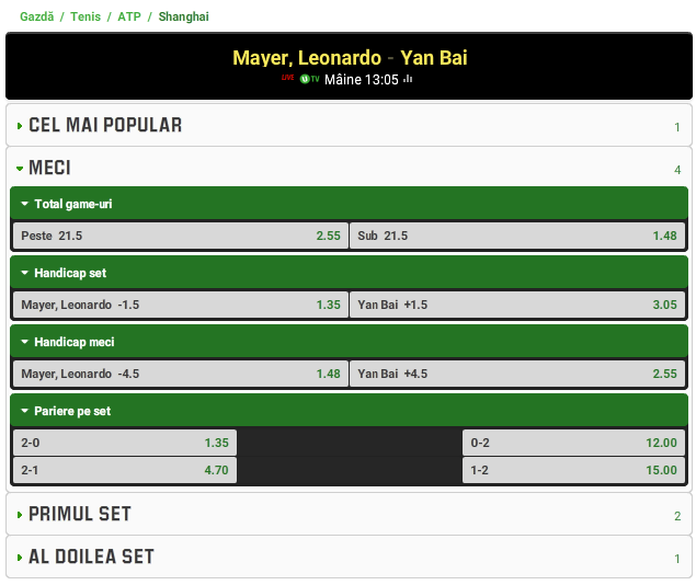 Leonardo Mayer vs Yan Bai