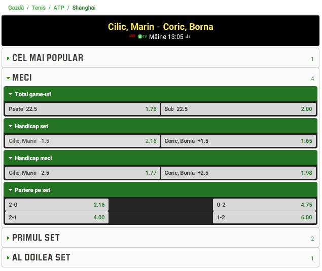 Marin Cilic vs Borna Coric
