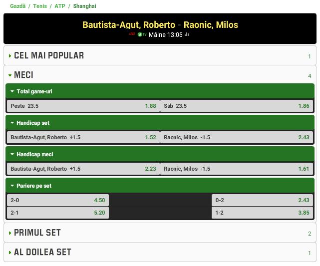 Roberto Bautista-Agut vs Milos Raonic