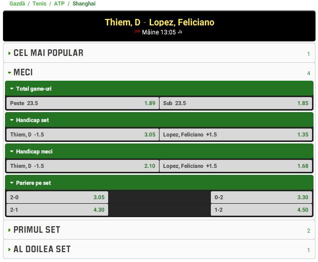 Dominic Thiem vs Feliciano Lopez