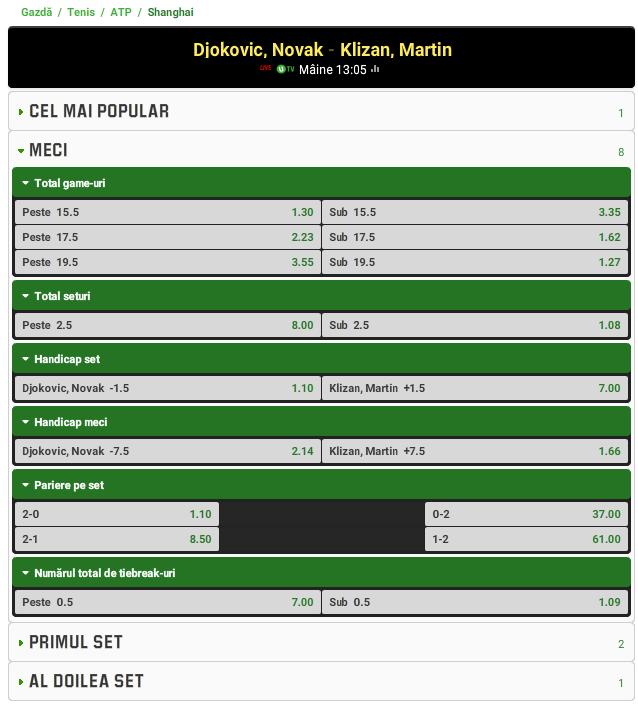 Novak Djokovic vs Martin Klizan