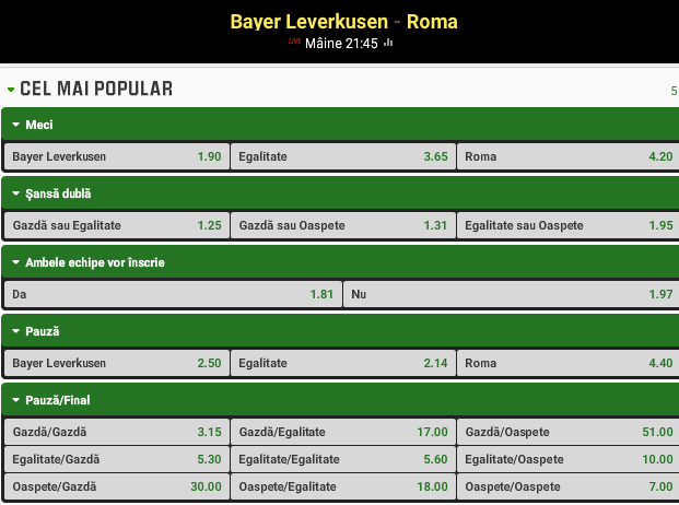 Leverkusen vs AS Roma
