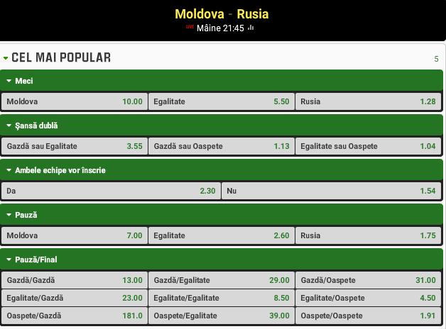 Moldova vs Rusia