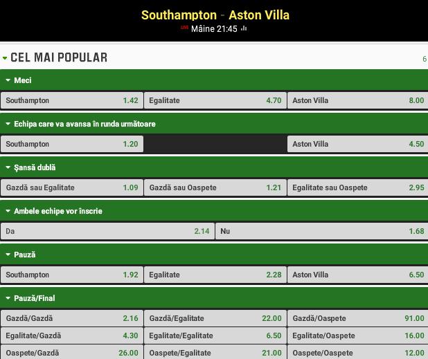 Southampton vs Aston Villa