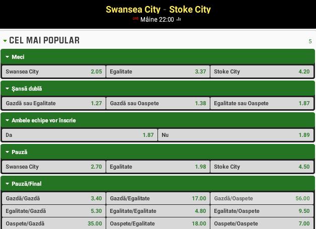 Swansea vs Stoke