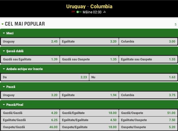 Uruguay vs Columbia