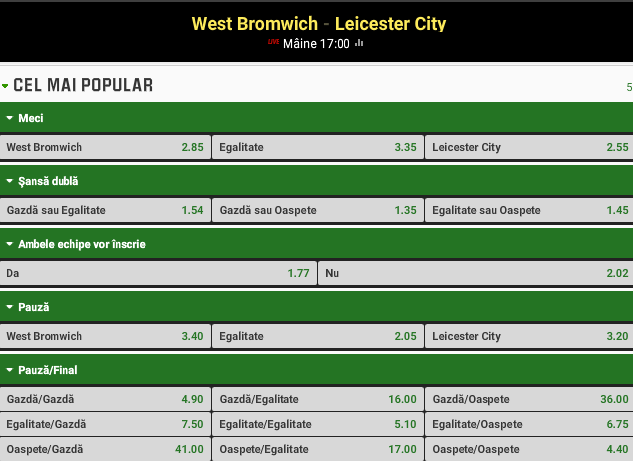 West Bromwich vs Leicester